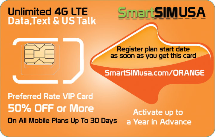 SmartSIM USA Valencia Orange VIP Card - 50% or more off Retail Rate Plans